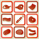 Set of 9 icons with meat pieces Royalty Free Stock Photo