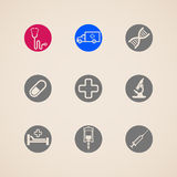 Set of icons with medical items. Medical signs Stock Images
