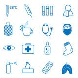 Set icons on the medical theme, and treatment of the common cold Royalty Free Stock Image