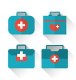 Set icons of medicine chest with long shadow in flat style Stock Photography
