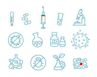 Set of icons medicine health drug. Chemistry and hospital laboratory. Stock Photo