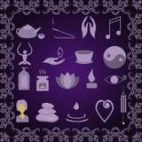 Set of icons meditation Stock Photography