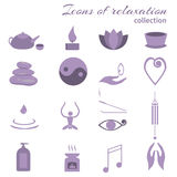 Set of icons meditation Royalty Free Stock Photo
