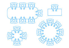 A set of icons a meeting of businessmen at a table the top view. Stock Images