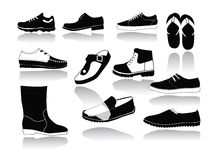 Set of icons of men's shoes Stock Photo