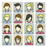 Set of icons men and women in a flat linear style. Royalty Free Stock Images