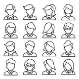 Set of icons men and women in a flat linear style. Royalty Free Stock Photo