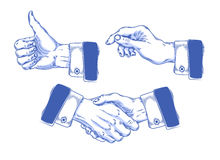 Set of icons mens hands making various gestures royalty free illustration