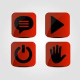 Set of icons - Message, Multimedia, Power and Hand icons. Vector royalty free illustration