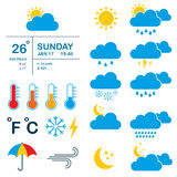 Meteorology, weather and climate  icons. Stock Image