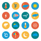 Meteorology, weather and climate  icons. Royalty Free Stock Photos