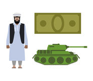 Set of icons for military conflict in Syria. Refugee, Money and Royalty Free Stock Image
