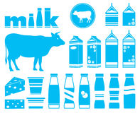 Set icons of milk Royalty Free Stock Image