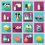 Set of icons for milk. Dairy products, production. Milk dairy product flat long shadow icons set with processing splash sour cream isolated vector illustration Royalty Free Stock Image