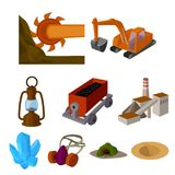 Mining related icon set Royalty Free Stock Photo