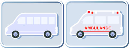 Set of icons with minibus. And ambulance in frame Stock Photos