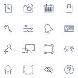 Set with 16 icons for mobile app, sites, mobile, software. Flat design icons set modern style  illustration concept of web development service, social media Royalty Free Stock Photos