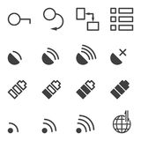 Set of icons for mobile application. A set of 16 images from the lock to connect to the Internet. Vector on a. Transparent background royalty free illustration