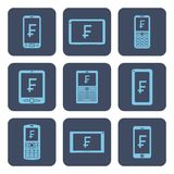 Set of icons - mobile devices with frank symbols on screens. Light blue line art icons on rounded quadratic blue backdrops Royalty Free Stock Photos