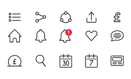 Set of the icons for mobile or web interfaces Stock Photography