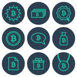 Set of icons about money with bitcoin symbols. Teal line art icons on round blue backdrops Royalty Free Stock Photography