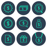 Set of icons about money with cifrao dollar symbols Royalty Free Stock Photos