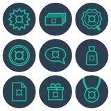 Set of icons about money with currency symbols. Teal line art icons on round blue backdrops Royalty Free Stock Image