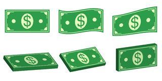 Set icons money dollar, flat and 3D bundle of cash. Vector symbol money for payment of pay, flat and isometric, bundle cash dollar. Set icons money dollar, flat Royalty Free Stock Images