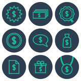 Set of icons about money with dollar symbols Stock Image