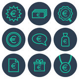 Set of icons about money with euro symbols Stock Photos