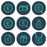 Set of icons about money with pound symbols. Teal line art icons on round blue backdrops Stock Image