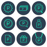 Set of icons about money with ruble symbols Stock Images