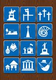 Set icons of monument, viewpoint, cemetery, city, church, fossil, crafts, library, cabins. Icons in blue color Stock Photography