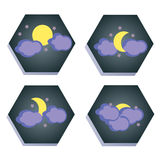 Set of icons with the moon. Royalty Free Stock Photography