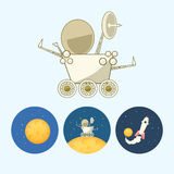 Set icons with  moon, spaceship, moonwalker, rover, vector illustration Stock Photography