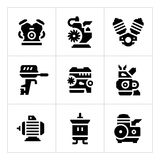 Set icons of motor and engine Stock Photo