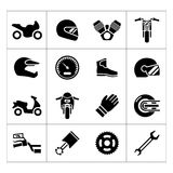 Set icons of motorcycle. Isolated on white Stock Photos