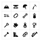 Set icons of mountaineering. Isolated on white vector illustration