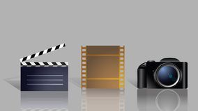 Set of icons for movie. Set of icons, including clipboard, film strip and camera Royalty Free Stock Photos