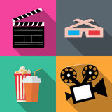 Set icons movies in a flat style Stock Images