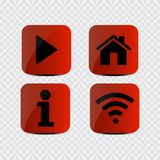 Set of icons - Multimedia, Info, Home and Wifi icons. Vector illustration vector illustration