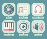 Set of icons music for app Royalty Free Stock Photos