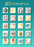 Set of icons music for app Stock Image