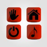 Set of icons - Music note, Home, Power and Hand icons. Vector Stock Photography