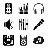 Set of icons of Music theme. Simple black Stock Photo