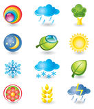 Set of icons. Nature and weather. Set of design elements. Nature and weather Royalty Free Stock Image