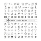 Set of icons - New Year, Christmas, winter. A vector Royalty Free Stock Image