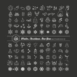 Set of icons - New Year, Christmas, winter. A vector Royalty Free Stock Photo