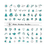 Set of icons - New Year, Christmas, winter. A vector Stock Images