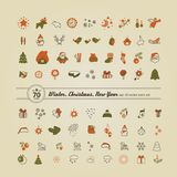 Set of icons - New Year, Christmas, winter. A vector Royalty Free Stock Photos